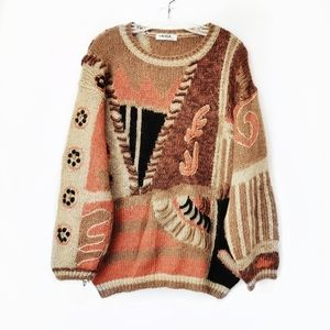 Vintage Lacasa Collection Brown Texture Sweater